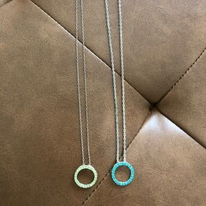 Teal and Green Circle Nacklace